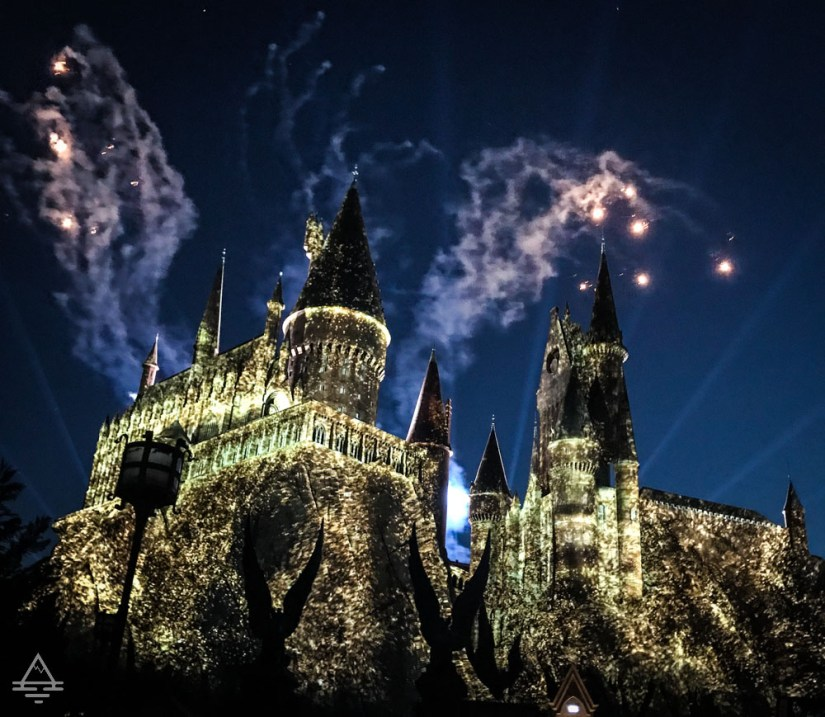 Nighttime Lights at Hogwarts in Harry Potter World Orlando