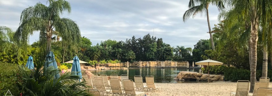 Dolphin Lagoon, Beach Chairs, and Sandy Beach in Discovery Cove