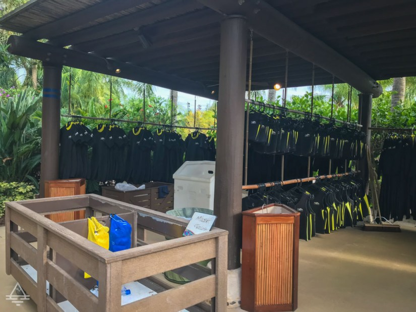Discovery Cove Wet Suits and Vests Pickup Area