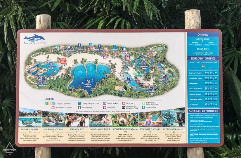 Discovery Cove Sign with Map