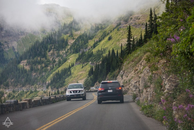 Cars on the Going to the Sun Road in Glacier National Park