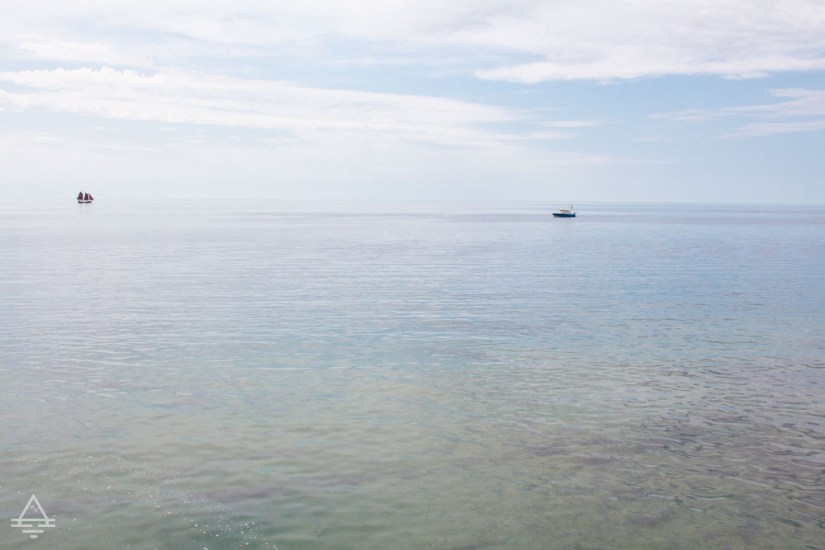 Lake superior with 2 boats on the horizon