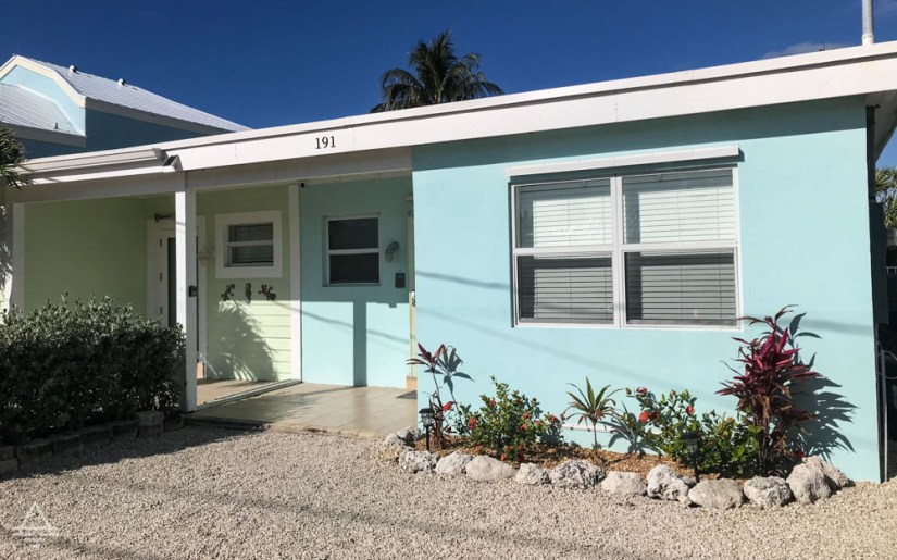 Front of the duplex of a Florida Keys vacation rental.