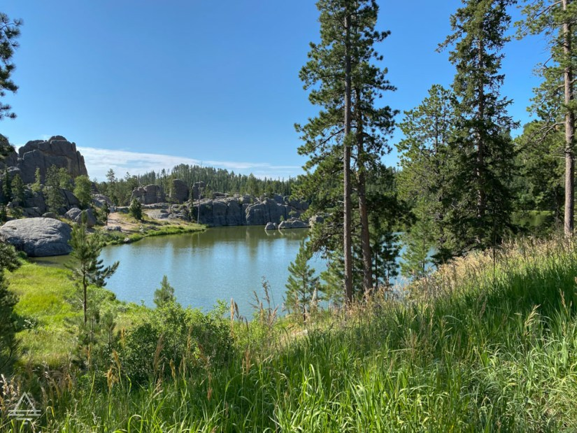 Sylvan Lake surrounded by trees in Custer State Park