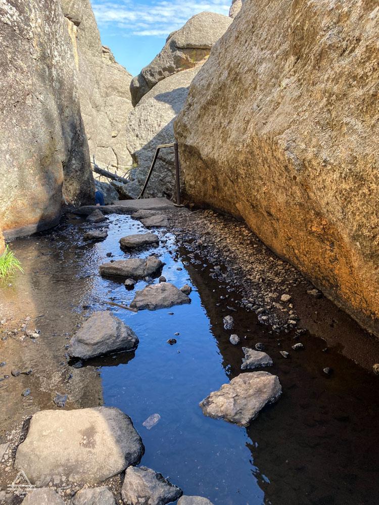 Creek between boulders