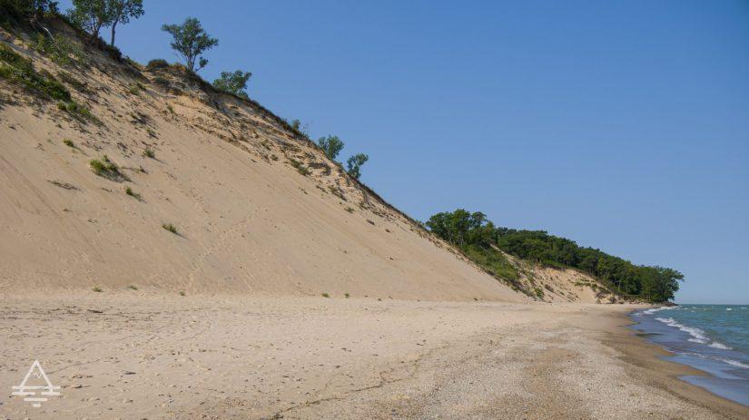 Large sand dune by Lake Michigan