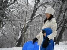 Mommy and D with sled, Normafa