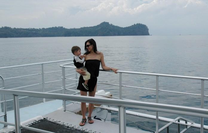 Susan and G on the catamaran, MA