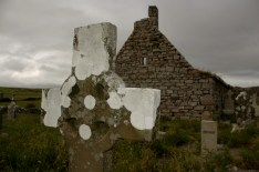 cross and church ruins, Doolin