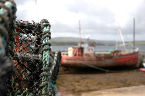 lobster pots and boat, Creggans