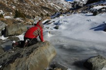 g on rock with frozen stream