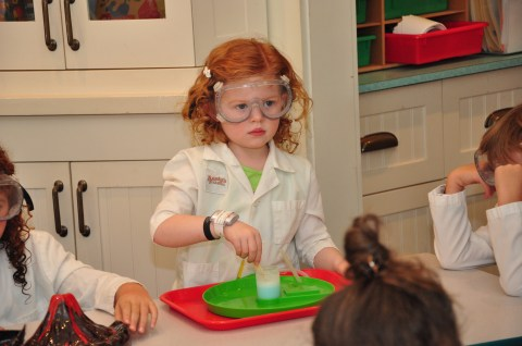 Our little mad scientist at Aunty's Beach House making Stitch's Space Goo.