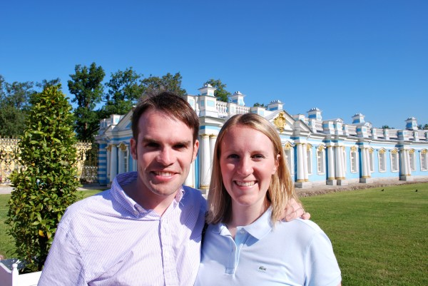 In front of Catherine Palace in Pushkin, near St. Petersburg.