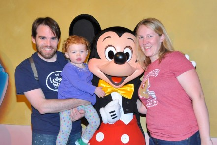 V's first time meeting Mickey Mouse.  First Trip to Disneyland, February 2011.