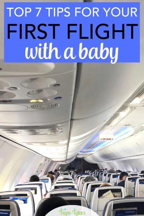 Taking your first airplane flight with a baby? Tips from a parent who has flown with young kids hundreds of times. The best airlines, times of day to fly, and tricks for airport security and more. #airtravel #flyingwithbaby #traveltip #familytravel