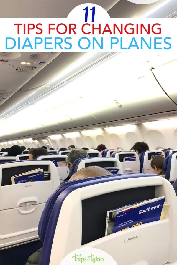 Flying with a baby or toddler? Everything you need to know about changing diapers on airplanes. Which airlines have changing tables, how to have less mess and stress, and more! #travelwithkids #flyingwithkids #airtravel #traveltip