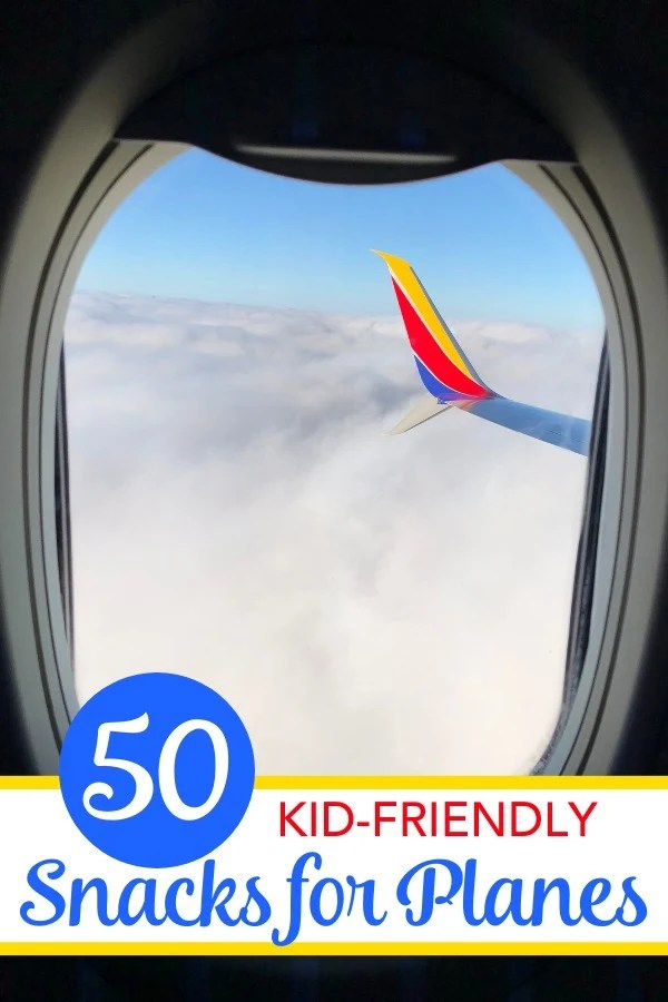 Traveling with children?Kid-friendly snack ideas for your next airplane flight. Less mess healthy food choices (and a few treats) that work for road trips too! #familytravel #travelsnacks #traveltip #travelwithkids
