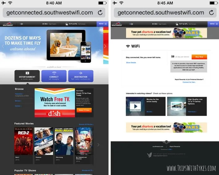 Southwest Airlines In-Flight Entertainment: Main Page & WiFi