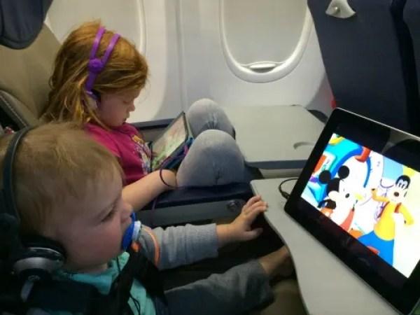 Kids iPads on Plane
