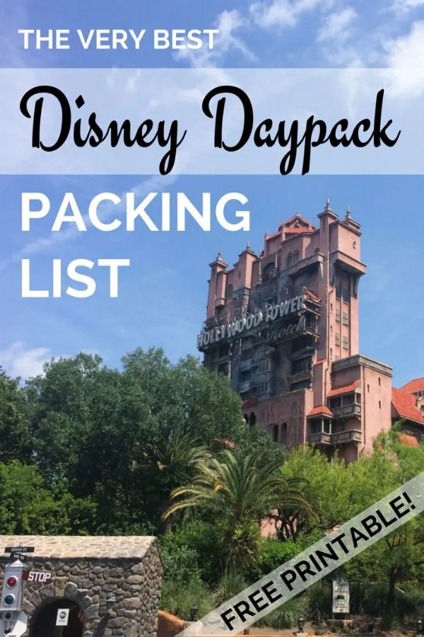 Packing List for Your Disney Daypack (Free Printable