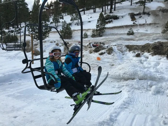 Skiing Diamond Peak with Kids - Child on Chairlift