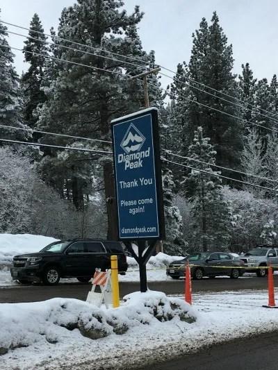 Skiing Diamond Peak with Kids - Sign