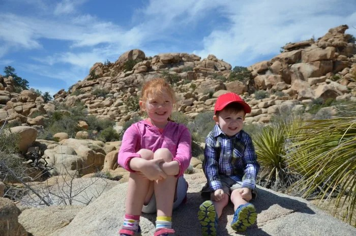 Hiking with a Toddler - Toddler and Big Sister at Joshua tree
