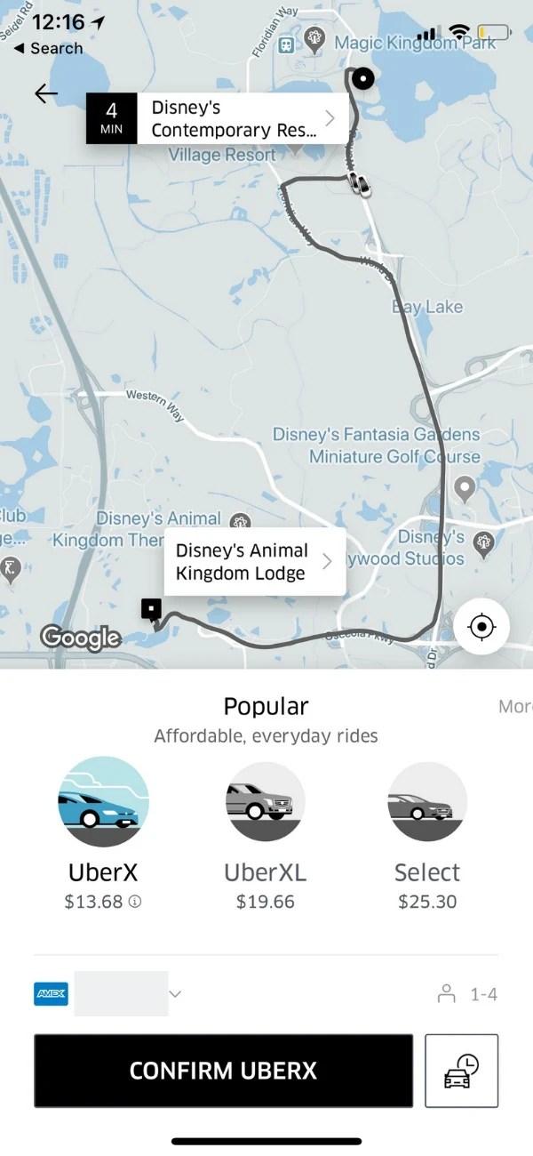 Uber Screenshot - Car choices