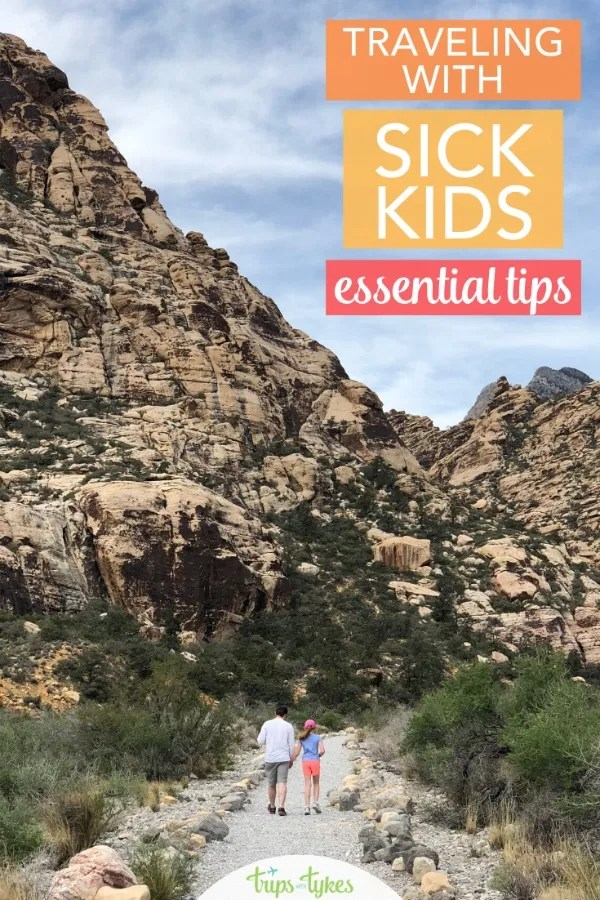 Tips for travel with sick kids. How to handle colds, stomach bugs, and other minor illnesses than can arise when you travel. Should you cancel a trip? How should you prepare if you choose to take a flight or road trip with a sick child anyway? #familytravel #travelwithkids #illness