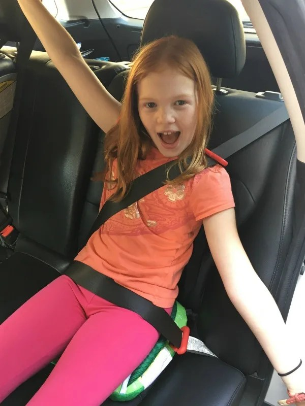 BubbleBum Review - Child Using Booster in Car