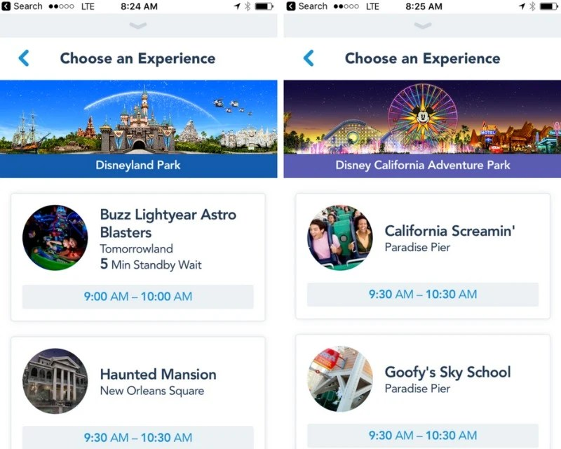 Disneyland Maxpass - Ride Selection in App