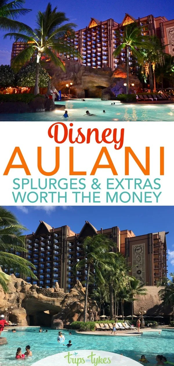 Headed to the Disney Aulani Resort in O'ahu Hawaii? What splurge activities, things to do, and meals are worth your money, even on a budget. A look at the luau, character dining, room upgrades, Laniwai spa, excursions, and more. #Aulani #DisneyAulani #Hawaii #Oahu #Disney
