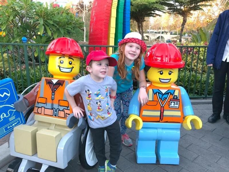 Legoland California on a Budget - Lego Jumbo Minifigs with kids