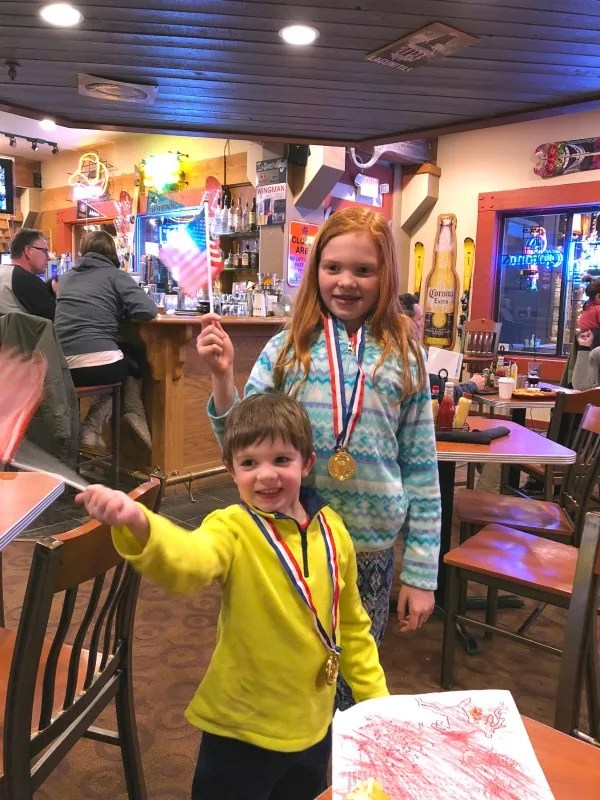 Why Ski School is Worth it for Kids - Northstar California Dinner at TCs Pub