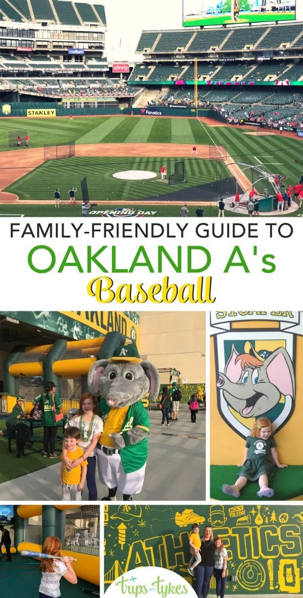 The ultimate guide to Oakland A's baseball games for families. What to do with kids, what's new at the Coliseum, and why you should go on a trip to the San Francisco Bay Area. #RootedInOakland #Oakland #VisitOakland #OaklandAthletics #OaklandAs