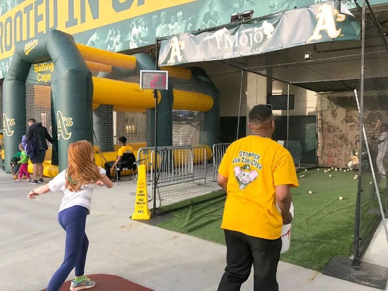 Oakland As Games with Kids - Pitching Practice Stomper Fun Zone