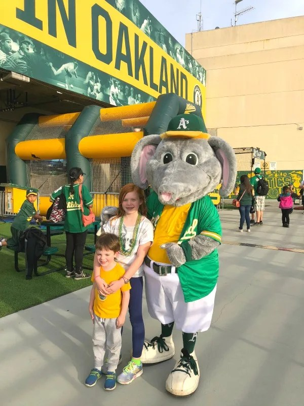 Oakland As Games with Kids - Stomper Photo Opp