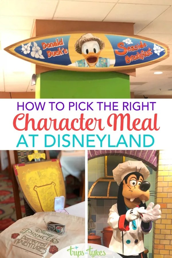 Thinking about a character meal at Disneyland? Pick the right restaurant for character dining with this complete guide. Explore menu options, characters available, and learn lots of tips and tricks from a Disneyland expert who has dined at every available meal. (Features the brand new in 2019 - Disney Princess Breakfast Adventures at Napa Rose!) #disneyland #charactermeal #characterbreakfast #disney #characterdining