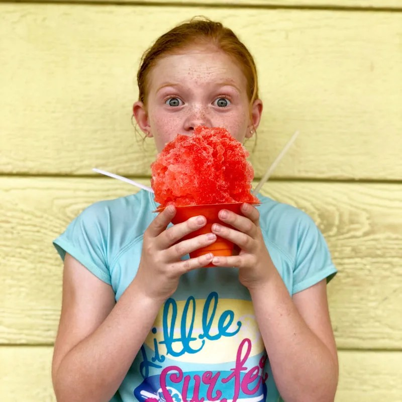 Hawaii Big Island with Kids - Kid and Shave Ice