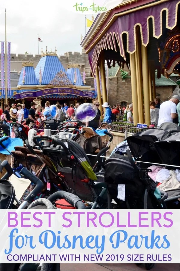 Need a stroller for your Disney World or Disneyland vacation with a baby or toddler? Single and double stroller models that work well for the unique challenges of Disney parks trips and also fit within new May 1, 2019 size guidelines. #disneyworld #disneyland #disney #stroller