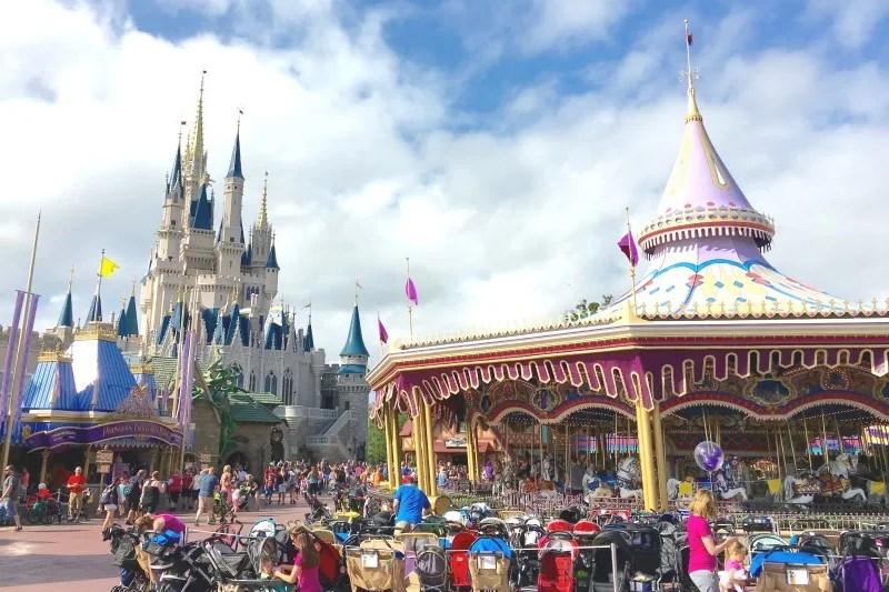 Strollers parked at Walt Disney World Magic Kingdom