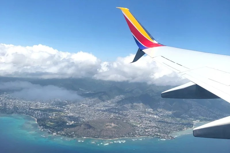 Southwest Hawaii Flight Review - Diamond Head Views from Plane