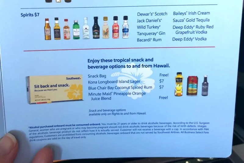 Southwest Hawaii Flight Review - Drink Menu