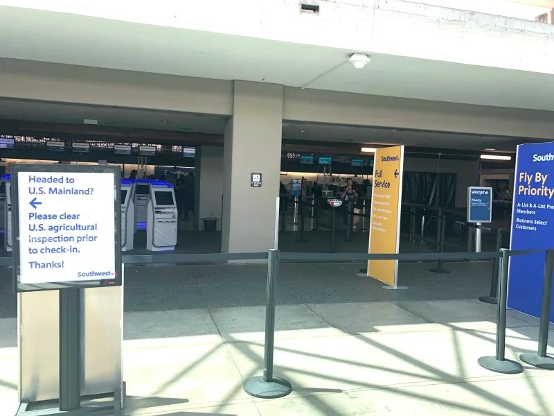 Southwest Hawaii Flight Review - Return Checkin Counters