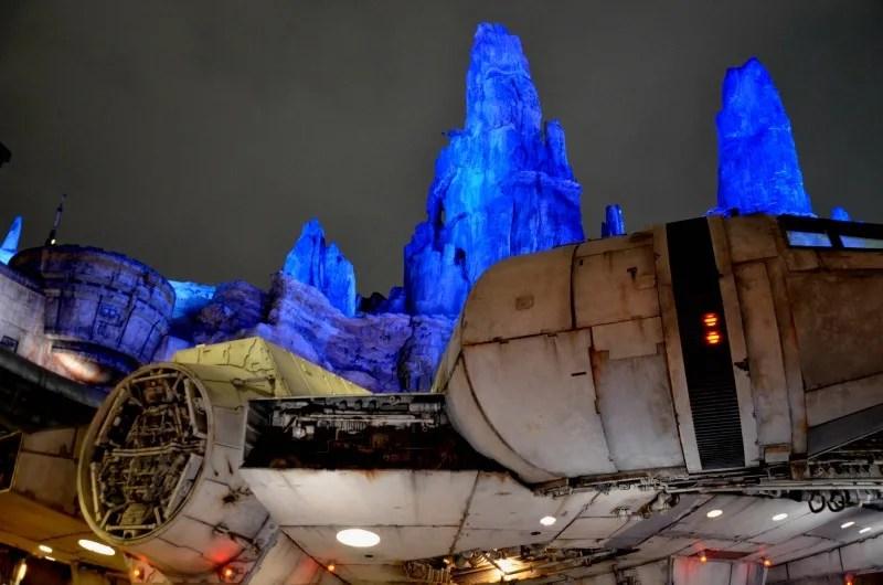 Star Wars Galaxys Edge Tips Disneyland - Millennium Falcon Lights at Night