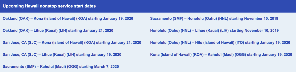 Southwest New Hawaii Routes fall 2019 early 2020