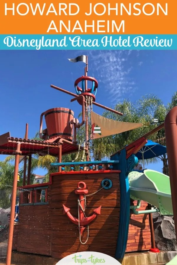A complete review of the HoJo Anaheim, a hotel within walking distance of Disneyland. Get a video tour of a newly renovated room and find out all about the hotel's pirate water park. #hojoanaheim #disneyland