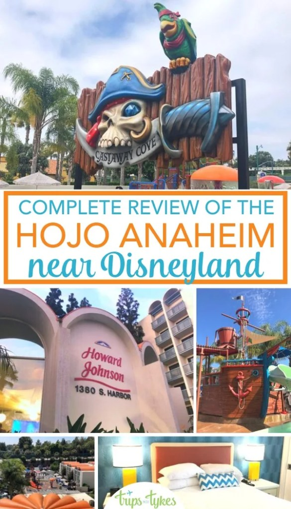Looking for a hotel within walking distance of Disneyland? Get all the details on the Howard Johnson in Anaheim, with information about newly renovated rooms, amenities for families, and the pirate water playground, Castaway Cove. #hojoanaheim #disneyland