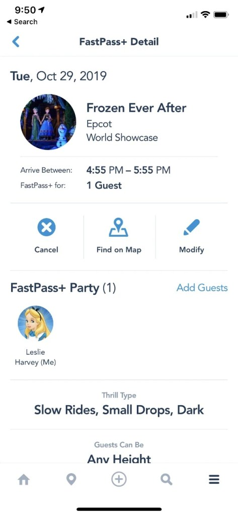Frozen Ever After Fastpass