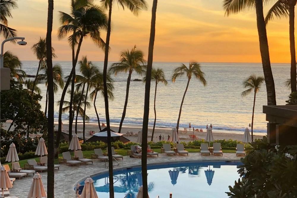 Hawaii Big Island Mauna Kea Pool and Beach at Sunset